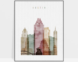 Austin skyline art print watercolor 1