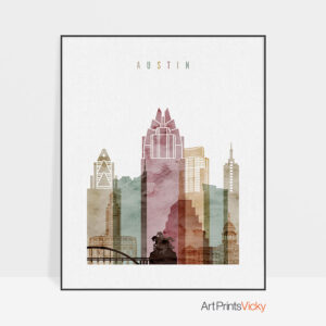 Austin skyline art print watercolor 1