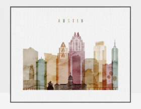 Austin skyline print watercolor 1 landscape