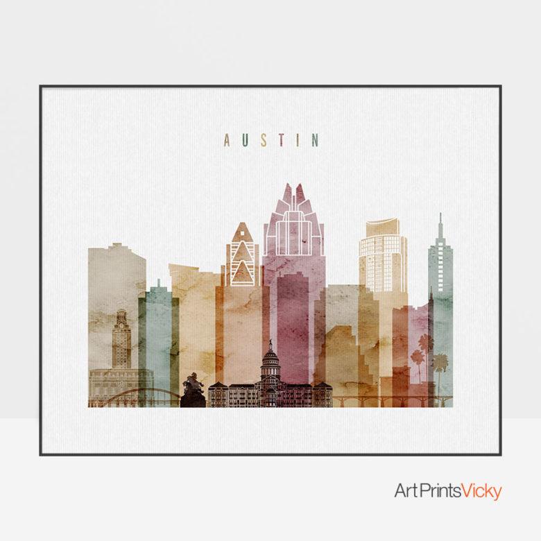 Austin skyline print watercolor 1 landscape