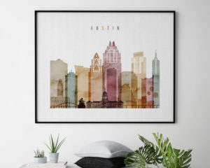 Austin skyline print watercolor 1 landscape second