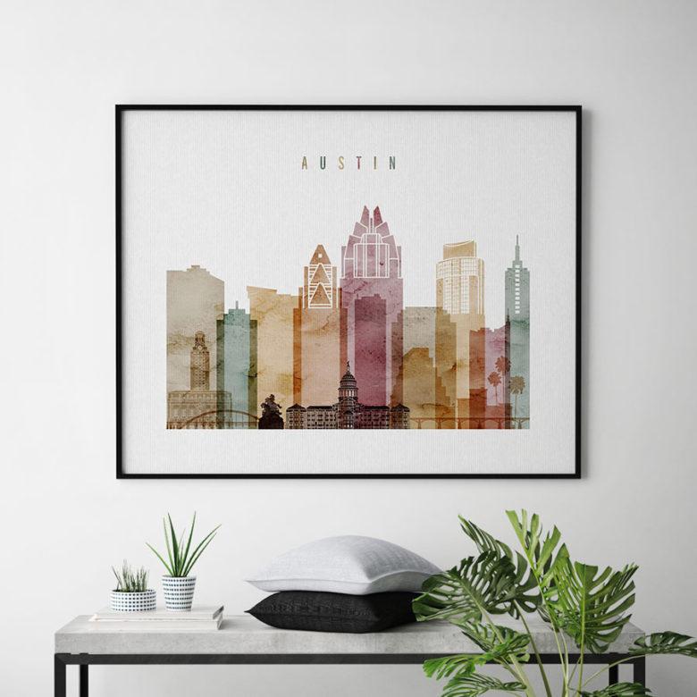 Austin skyline print watercolor 1 landscape second