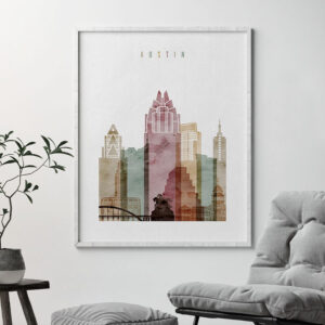 Austin skyline art print watercolor 1 second