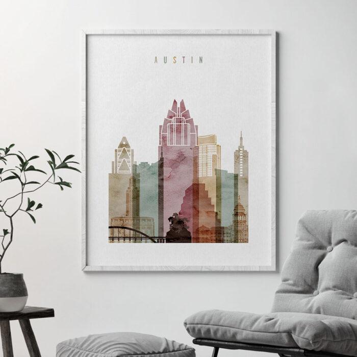 Austin skyline art print watercolor 1 second