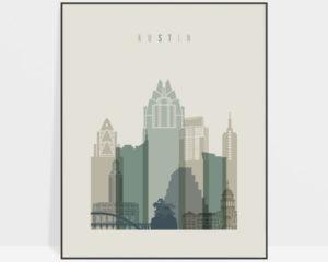 Austin print skyline earth tones 1