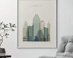 Austin print skyline earth tones 1 second