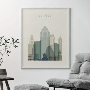 Austin print skyline earth tones 1 second