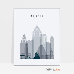 Austin skyline poster grey blue
