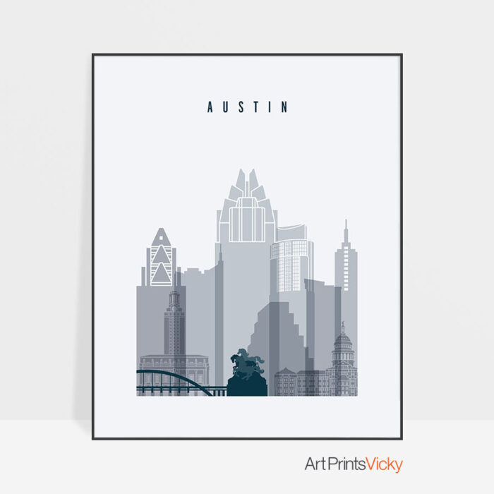 Austin skyline poster grey blue