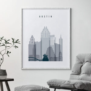Austin skyline poster grey blue second