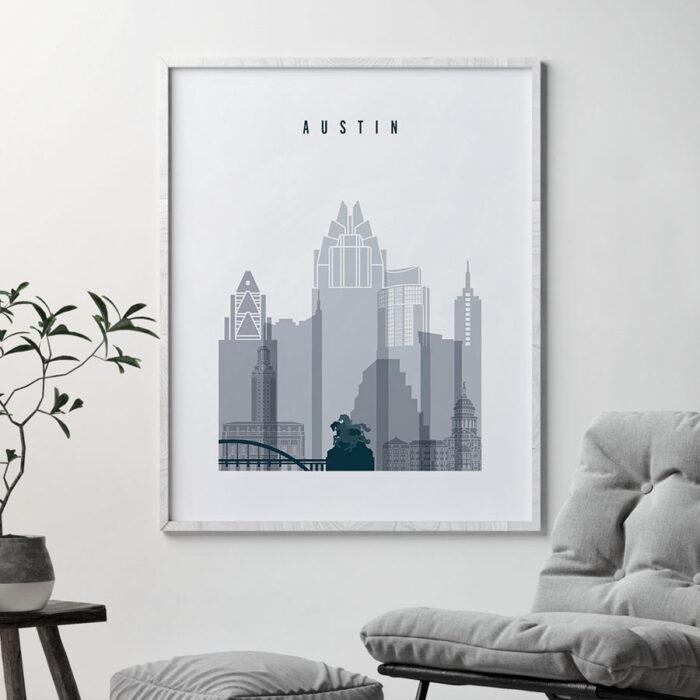 Austin skyline poster grey blue second