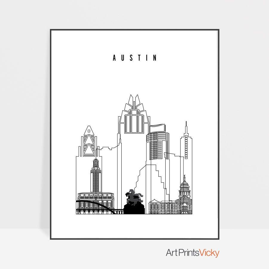 Austin black and white art print