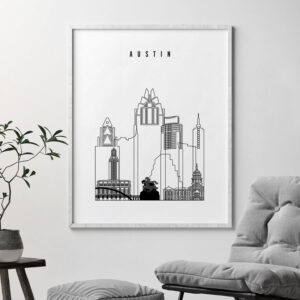Austin black and white art print second