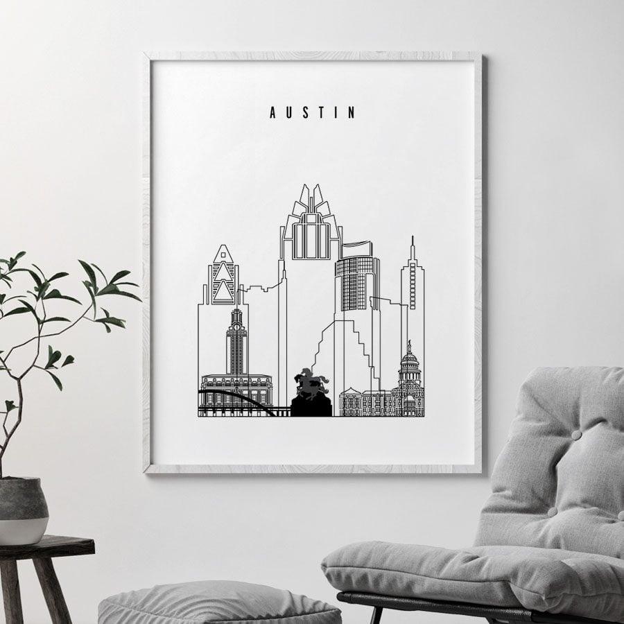 Austin black and white art print second