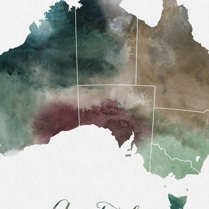 Australia map print detail