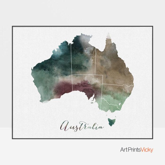 Australia map print