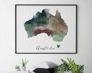 Australia map print second
