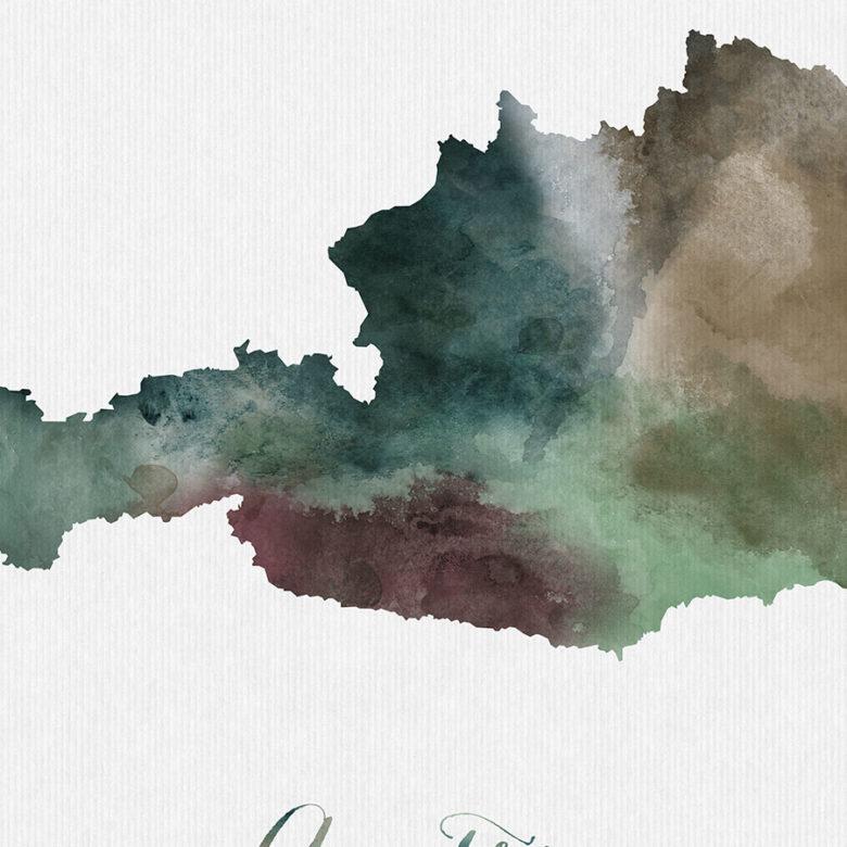 Austria map poster detail