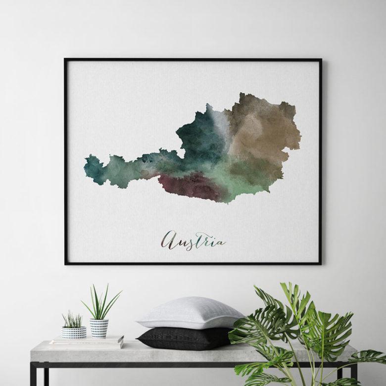 Austria map poster second