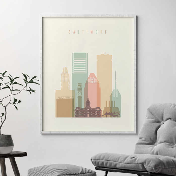 Baltimore wall art pastel cream second