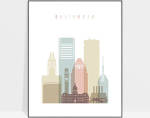 Baltimore art print skyline pastel white