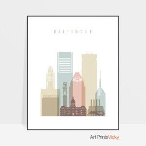 Baltimore art print skyline pastel white