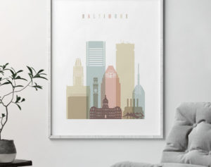 Baltimore art print skyline pastel white second