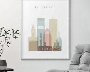 Baltimore art print skyline pastel white second