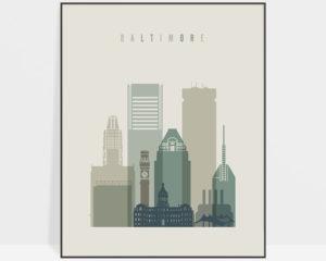 Baltimore print skyline earth tones 1
