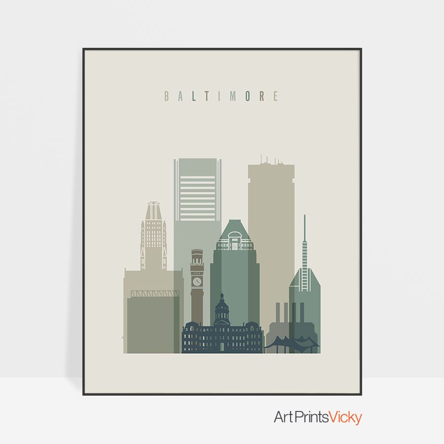 Baltimore print skyline earth tones 1