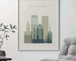 Baltimore print skyline earth tones 1 second