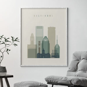 Baltimore print skyline earth tones 1 second