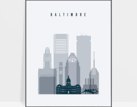 Baltimore skyline poster grey blue