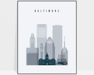 Baltimore skyline poster grey blue