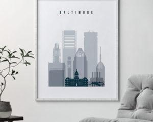 Baltimore skyline poster grey blue second
