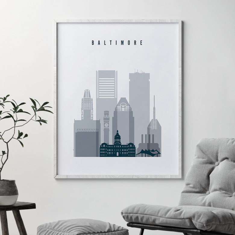 Baltimore skyline poster grey blue second