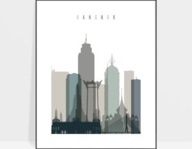 Bangkok art print skyline earth tones 4