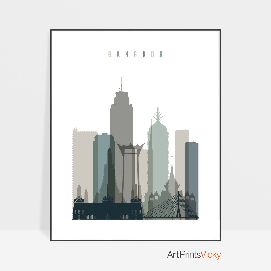 Bangkok art print skyline earth tones 4