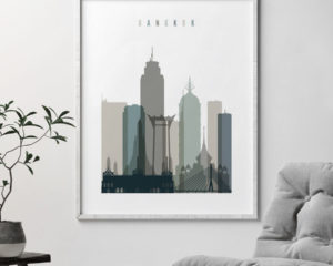 Bangkok art print skyline earth tones 4 second