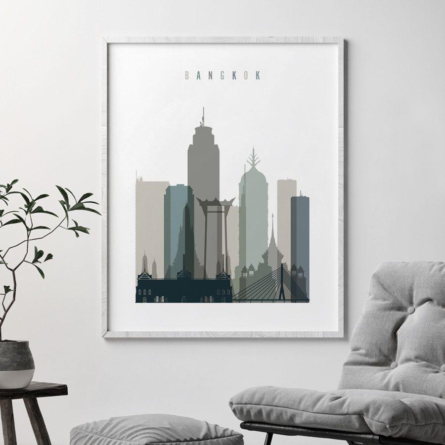 Bangkok art print skyline earth tones 4 second