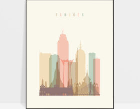 Bangkok art print skyline pastel cream