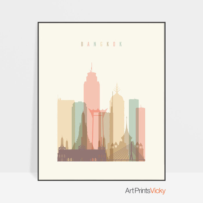 Bangkok art print skyline pastel cream