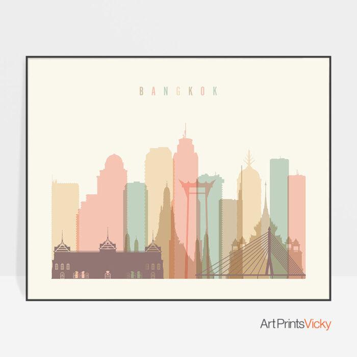 Bangkok poster skyline pastel cream landscape