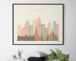 Bangkok poster skyline pastel cream landscape second