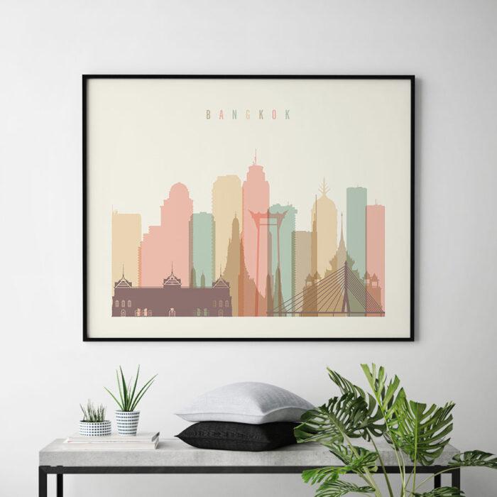 Bangkok poster skyline pastel cream landscape second