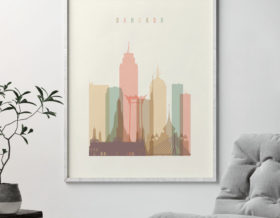 Bangkok art print skyline pastel cream second