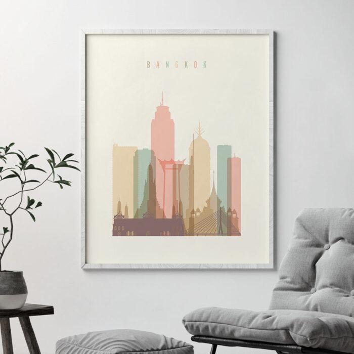Bangkok art print skyline pastel cream second