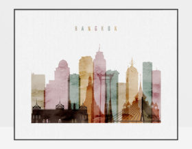 Bangkok skyline print watercolor 1 landscape