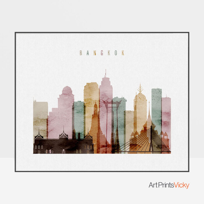 Bangkok art print watercolor 1 landscape
