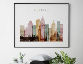 Bangkok skyline print watercolor 1 landscape second